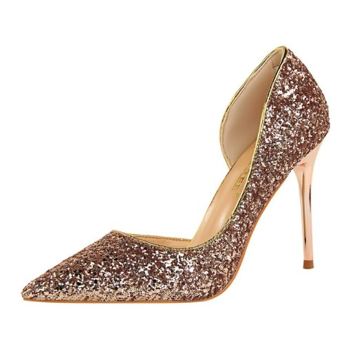 Women's High-Heeled mps Glittering Stiletto Rubber Sole Pointed toe Holiday Slip-On High65-13CM 95 cm PU Thin Heels Solid Color Middle Age30-50 Shoes
