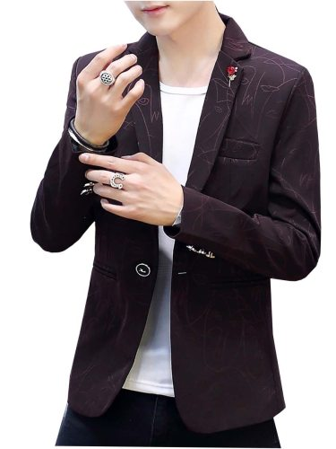 Men's Blazer Business Casual Neck Print Plus Size Solid Notched Slim Fashion Single Breasted Button