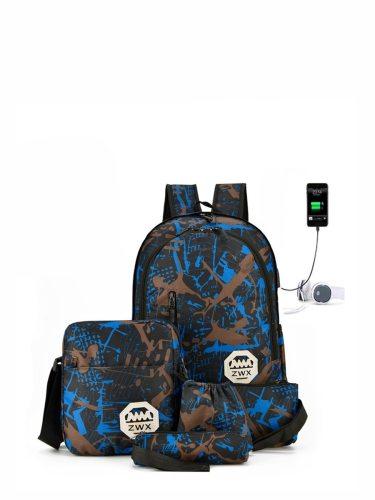 5Pcs Men's Backpack Set Large Capacity Print Sports Preppy Bags Geometric Back bag Fashion Interior Slot Pocket USB charging jack with headphone jack