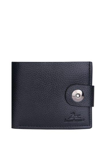 Men's Purse Solid Color ed Zipper Decor Retro 2 Fold Fashion Machine Sewing Thread