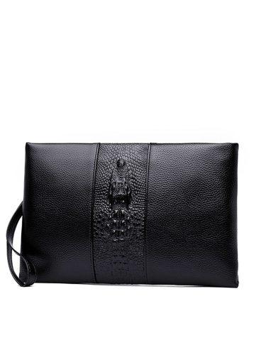 Men's Clutch Bag Color Vintage Waterproof PU Fashion Interior Zipper Pocket Casual Solid