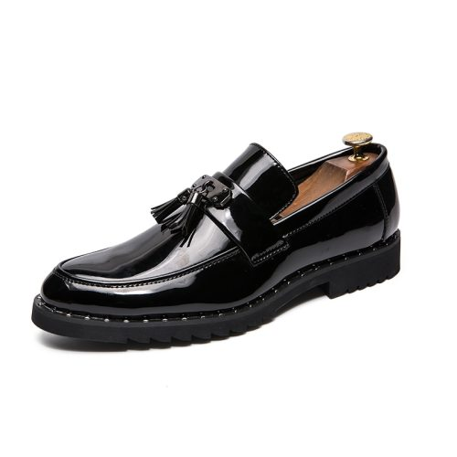 Men's Oxfords Solid Color Tassel Vintage Lacing Flat Machine Sewing Thread Round Toe Anti-Skidding Casual