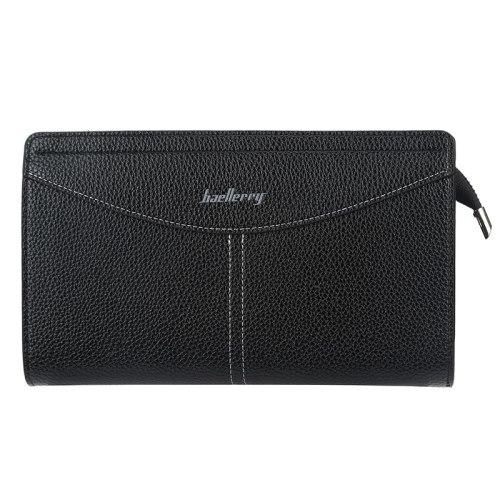 Baellerry Men's Clutch Versatile Lichee Pattern Closure Interior Zipper Pocket Solid Machine Sewing Thread Casual