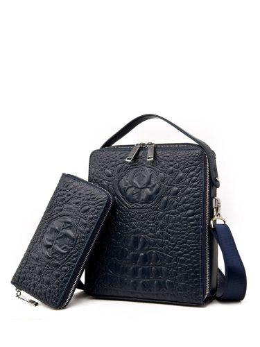 Men's Shoulder Bag Set 2Pcs Faux Leather 2Pcs Bag Solid Fashion