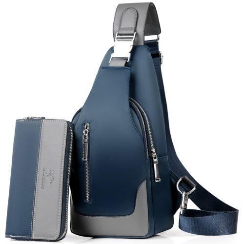 Men's Shoulder Bag Set Waterproof Wallet Versatile Chest Bag Interior Slot Pocket Colorblock Casual