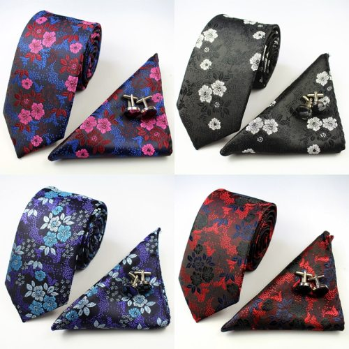 3 Piece Men's Tie & Cufflinks & Face Cloth Set Fashion Casual Flower Pattern Flowers Punk size of tie:148*7*35cmsize of face cloth:22*22cm Print