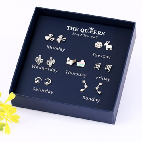 Women's 1 Piece Lovely Irregular 7 Pairs Stud Earrings Jewelry Sweet Gift Box Geometric 7-10Pcs Others