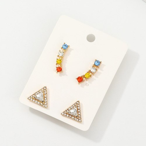 2 Pairs Women's Earrings Set Triangle Rhinestone Studs Fashion Allergy Free Geometric Simple/Neutral Alloy Inlaid with Artificial Gem/Semiprecious