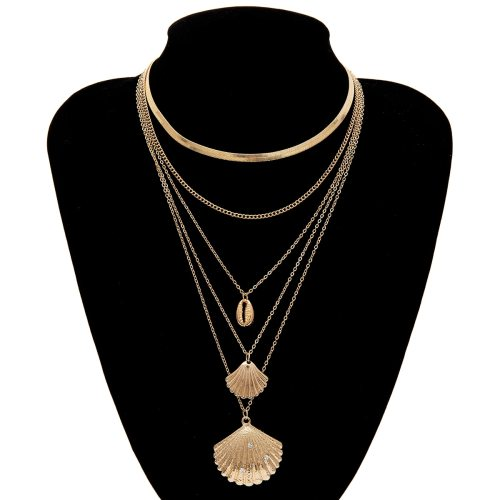 Women's Multi-Layer Necklace Seashell Pattern Casual Necklace Solid Color Rhinestone Vintage Accessory Basic