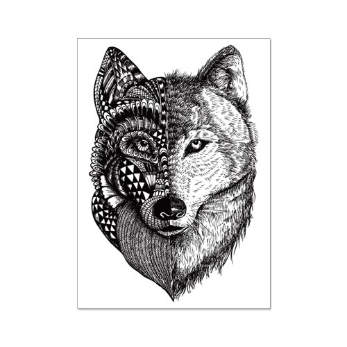4 Pieces Men's Tattoos Fashion Wolf Pattern Water Proof Simple Accessories Letter Casual