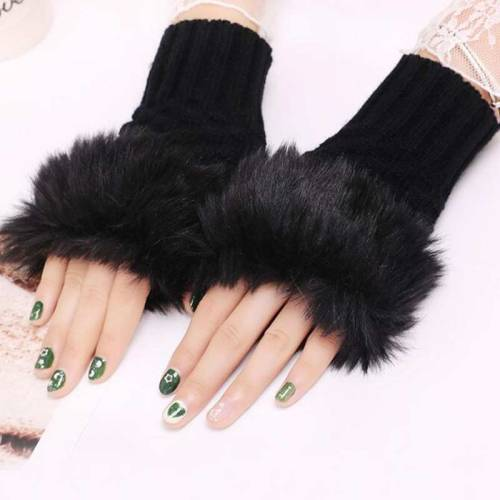 One Pair Women's Warm Gloves Plush Solid Color Half-finger Gloves Striped Feathers Vintage Hand wash Touchscreen