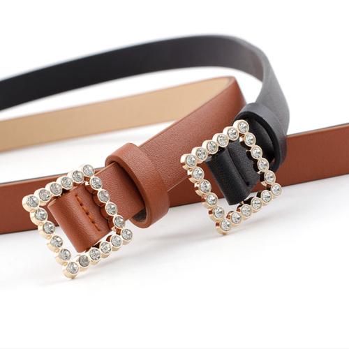 Women's Jeans Belt Imitation Pearl Ladylike Jeans Belt Fashion Rhinestone One-loop Women's Belts Accessories