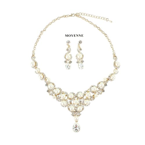 3Pcs Women's Necklace & Earring Set Imitation Pearl Alloy Jewelry Set Geometric Fine Casual Rhinestone Catenary/Necklace