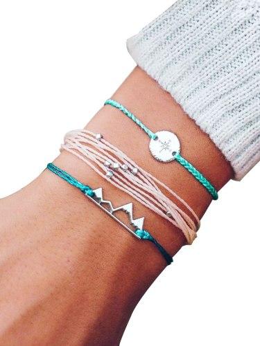 3Pcs Women's Fashion Bracelets Set Woven Beaded Compass Pattern Catenary/Necklace Basic