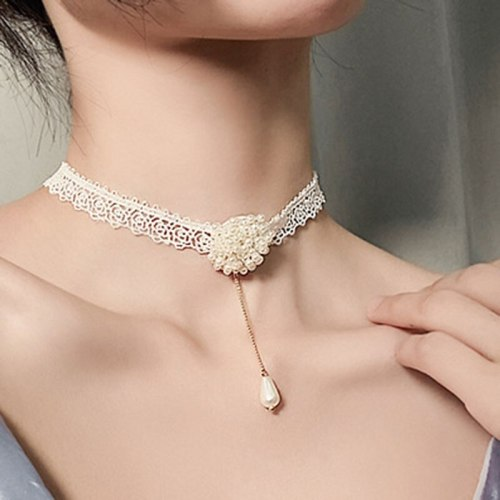 Women's With Pendant Collar Lace Design Sweet Elegant All Match Catenary/Necklace Fashion Infinite Charming Jewelry