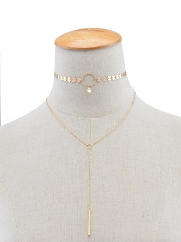 Women's Necklace Stars Paillette Tassel Ornament Solid Color Basic Top Fashion Catenary/Necklace Metal Decoration