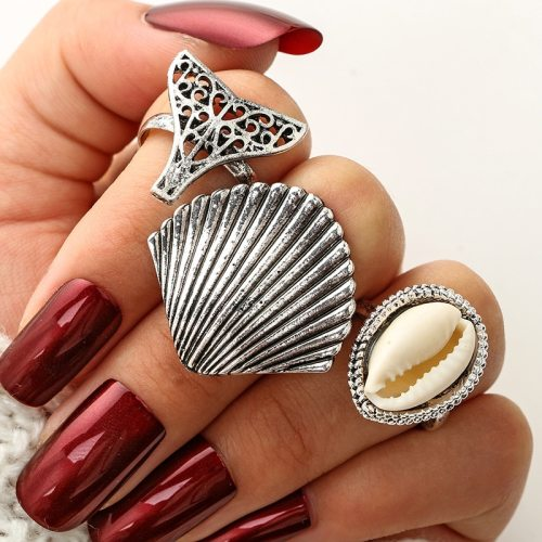 3 Pieces Women's Ring Set Simple Hollow Out Fox Head Shell Elegant Geometric Fashion Accessory Top Fashion Carving