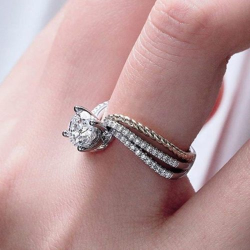 Women's Fashion Ring Colored Zircon Inlaid Elegant Accessory Solid Color Fine SILVERAGE Carving Punk