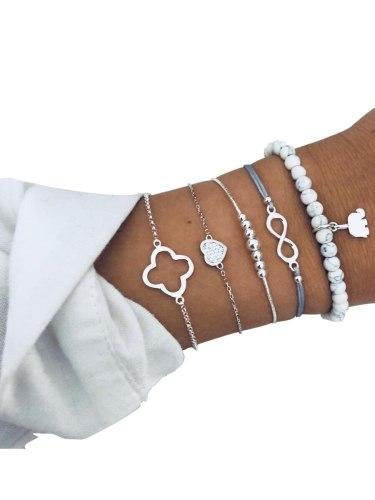 5Pcs Women's Bracelets Set Beaded Elephant Shape Pendant Fashion Accessory Vintage