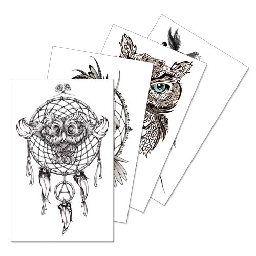 4 Pieces Women's Tattoo Stickers Fashion Glow In Dark Pattern Water Proof Elegant Casual Hollow out Animal Accessories Waterproof