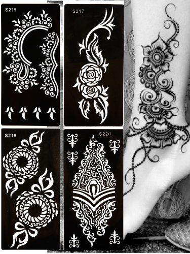 4 Pcs Inkjet Tattoo Set Charming Complicated Pattern Freehand Tattoo press down and wet again6You'TATTOOS'can last for several days if transferred so