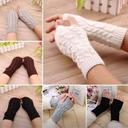Women's Warm Gloves Solid Color Warm Thickened Hand wash Outdoor Plaid Vintage