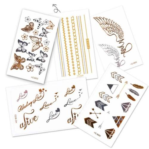 5 Pcs Women's Tattoo Sticker Set Floral Butterfly Letter Pattern All Match Feathers Print Accessories Sweatproof Celebrity