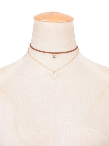 Women's Necklace Brown Color Faddish Simple Double Layer Fine Casual Catenary/Necklace Solid Color