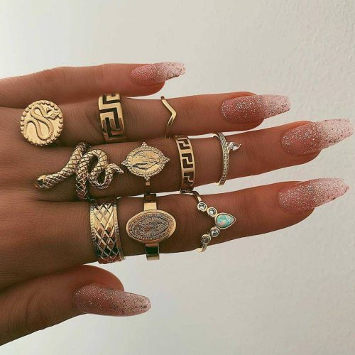 10 Pcs Women's Ring Set Ladylike Vintage able Accessories Fashion