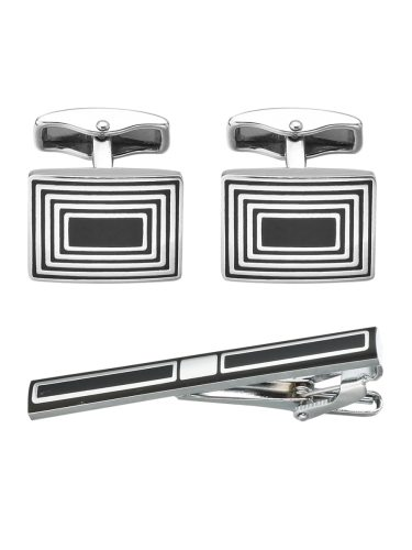 MeMolissa Men's Gifts Set Striped Square Shape Cufflinks Business Tie Clip