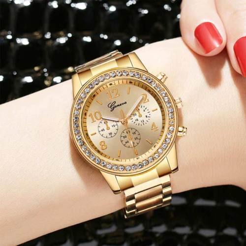 Women's Fashion Watch All-Match Steel Strap Elegant Alloy Pointer Rhinestone Round Hasp Business Wipe clean Women's Watches Quartz