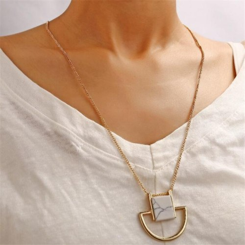 Women's Sweater Chain All-Match Marble Semicircular Elegant Ethnic Geometric Metal Decoration Fashion Accessory
