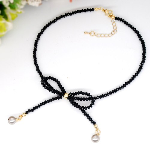 Women's Fashion Necklace Bow Pattern Beads Short Necklace Rhinestone Fine Geometric Celebrity Accessories Infinite Charming Jewelry