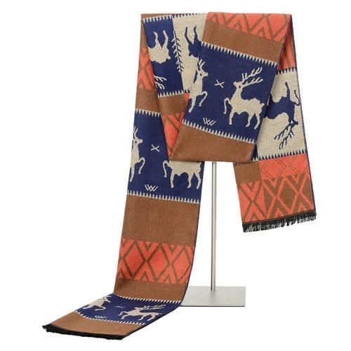 SAN VITALE Men's Scarf Deer Pattern Color Block Comfy Warm Casual Striped Hand wash Winter Scarves Tassel Accessory