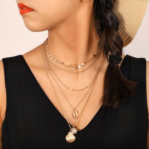 Women's Multi-Layer Necklace Simple Shell Elegant Solid Color Metal Decoration Casual Accessory Fashion