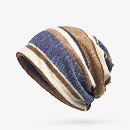 Women's Beanie Fashion Colorblock Striped Hair Band Breathable Skullies & Beanies Spring/Autumn Drape Gradient Color Hand wash Top Fashion