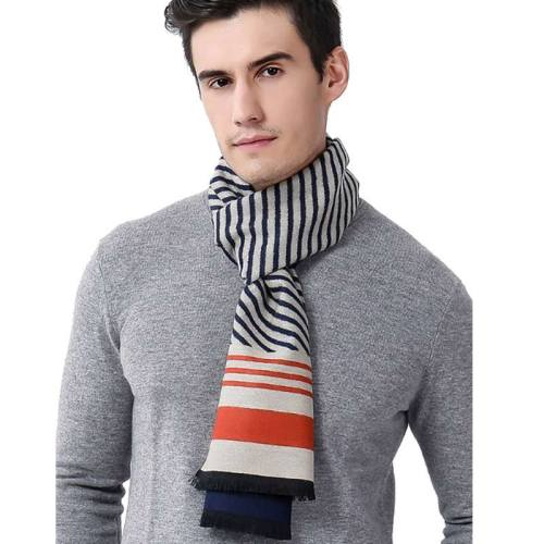 Men's Scarf Cozy Striped Color Block Thicken Warm Winter Scarves Accessory Contrast Color Print Wipe clean Sexy