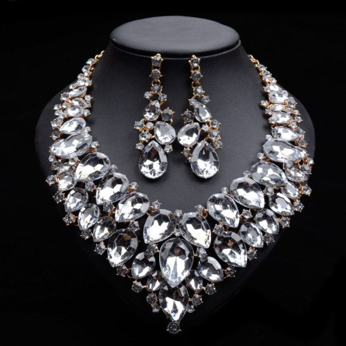 3Pcs Women's Necklace & Earring Set Exquisite Elegant Jewelry Set Crystals Geometric Catenary/Necklace Fine OL