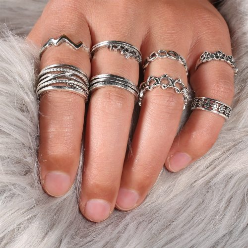 8 Pcs Women's Ring Set Retro Stylish All Match Opening Design Ring Accessories Fashion
