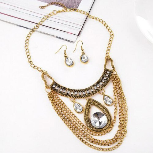 Lucky Doll 3 Pcs Women's Multi-Layer Necklace & Earring Set Ladylike Jewelry Fashion Accessories