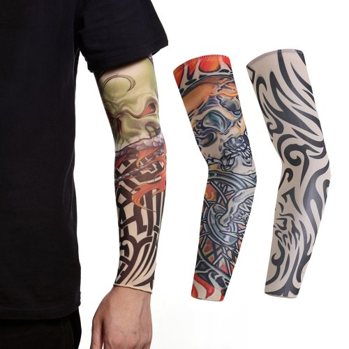 3 Pcs Sun-protective Sleeve Breathable Quick-drying Outdoor Punk Print Long Sleeve
