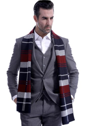 Men's Scarf Color Block OL Style All Match Winter Scarves Accessory Top Fashion Hand wash