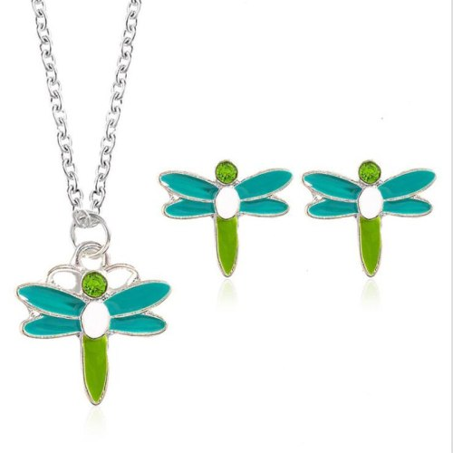 3Pcs Women's Necklace & Earring Set Dragonfly Shape Jewelry Set Basic Accessories