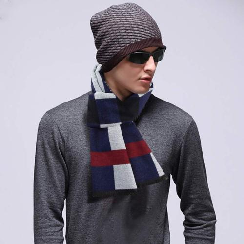 Men's Scarf Creative Simple Plaid Thicken Soft Warm Wipe clean Contrast Color Scarves Winter Scarves Casual Striped Accessory