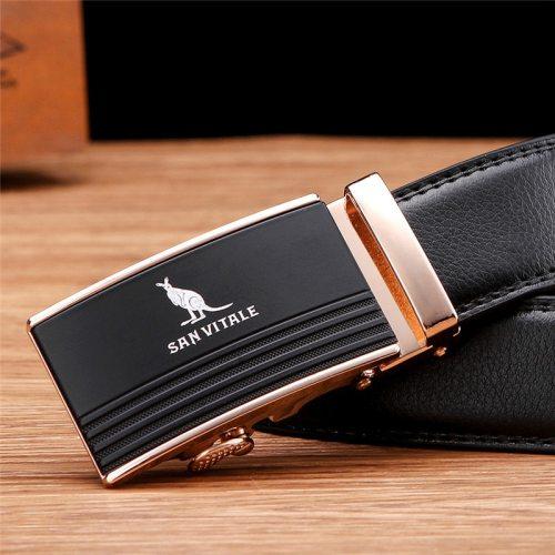 SAN VITALE Men's Belt Automatic Buckle Business Comfy Accessory Metal Decoration Men's Belts Solid Color Fashion