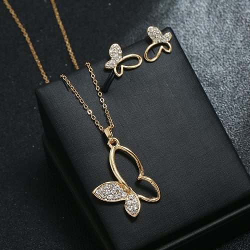 3 Pcs Women's Necklace & Earrings Delicate Butterfly Ladylike Top Fashion Accessories Animal Rhinestone