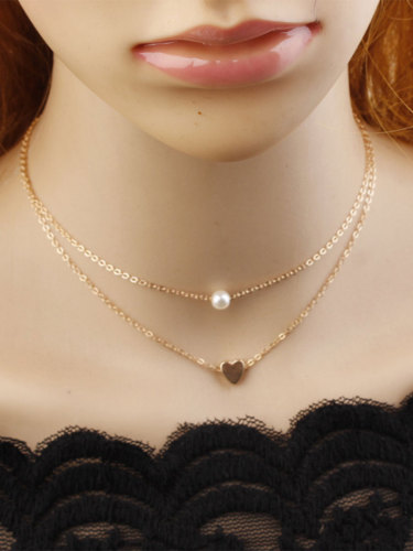 Women's Necklace Simple Design Heart Shape Double Layer Trendy Fashion Accessories Celebrity Infinite Charming Jewelry