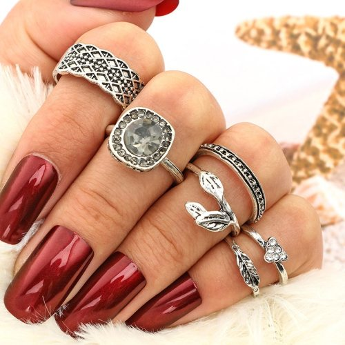 6 Pieces Women's Ring Set Retro Imitation Gemstone Elegant Fashion Top Fashion Solid Color Carving Accessory