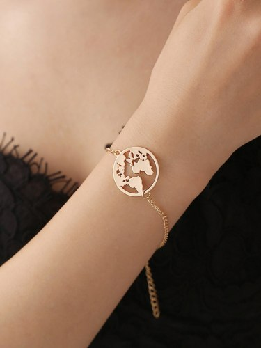 Women's Fashion Bracelet Simple Hollow Out Map Design All Match Basic Catenary/Necklace