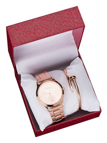 2 Pcs Women's Gift Set Color Exquisite Watch With A Solid Top Fashion gift boxesBracelet material: stainless steelWatch material: AlloyWatch length: